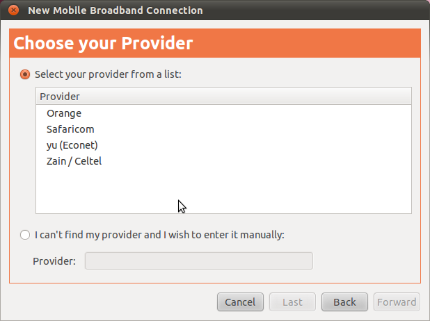 Mobile providers in Maverick Meerkat's Network Manager