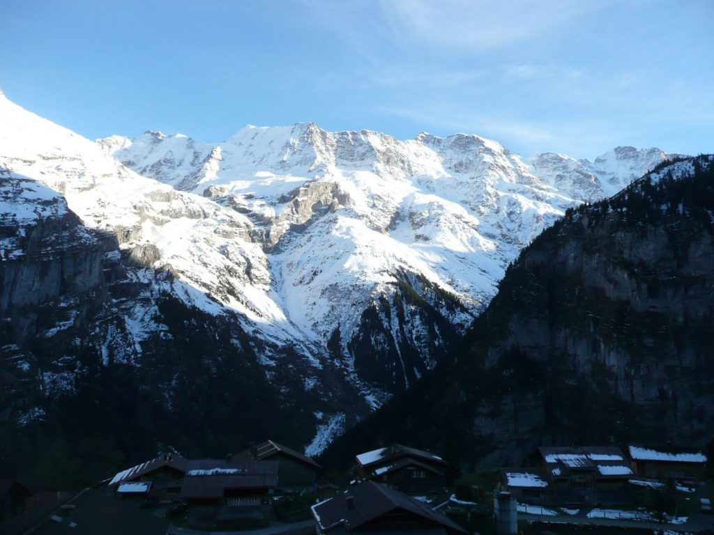 Snowy mountains as seen from Gimmelwald