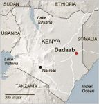 Map of Kenya showing Dadaab