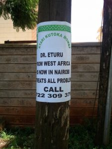 Sign advertising Dr. Eturu's services in Nairobi, Kenya