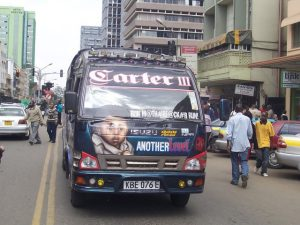 "A matatu called ""Carter III"" in downtown Nairobi, Kenya"