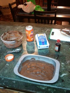Preparing the brownies...