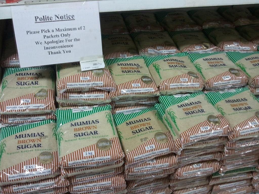 Sugar notice at Nakumatt Junction in Nairobi, Kenya