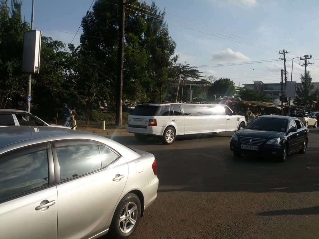 Stretch Land Rover limousine on Ngong Road
