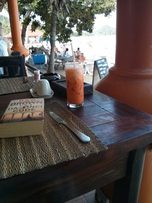 Thai iced tea by the beach