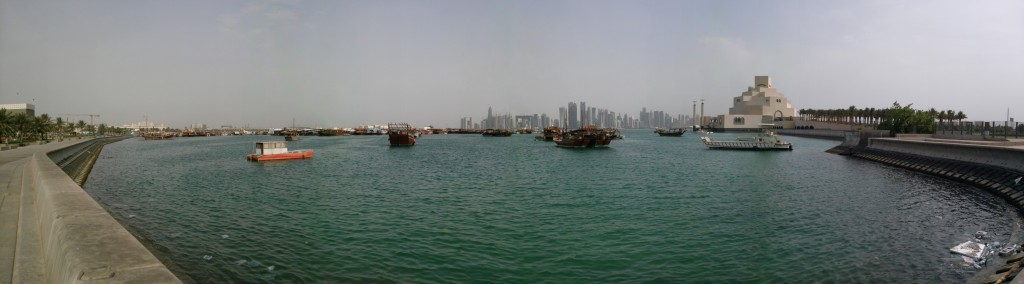 Panorama of dhow harbor in Doha, Qatar