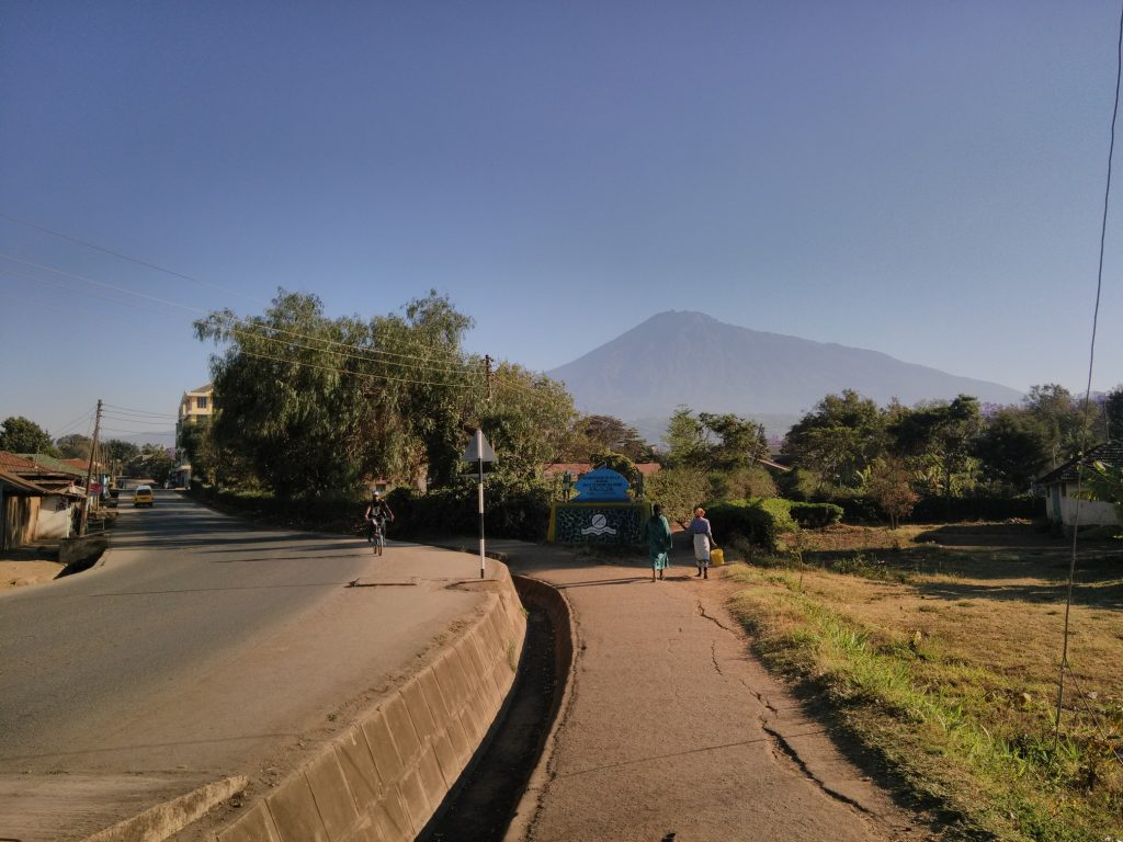 Mount Meru from Arusha in the morning