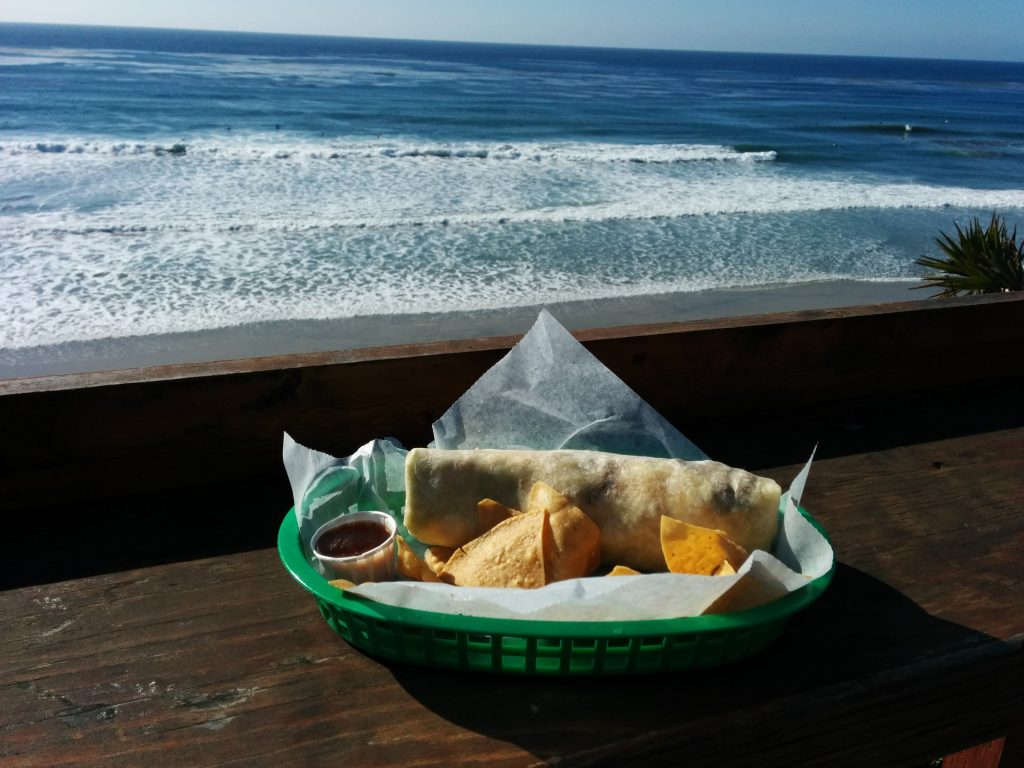 California burrito by the beach