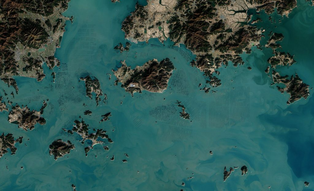 Seaweed farms in South Korea as seen from space